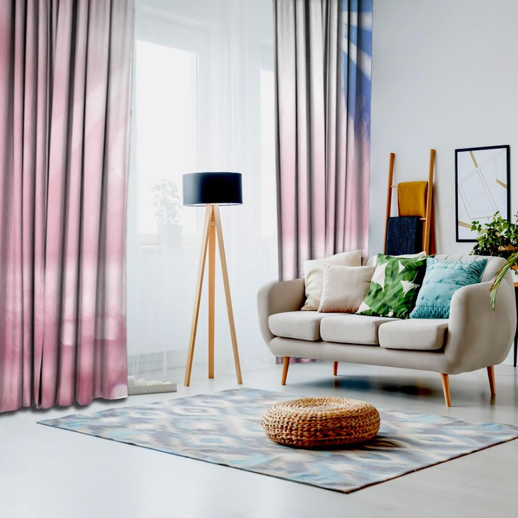 baskılı fon perde pembe ve mavi renk etkili ışık desenli