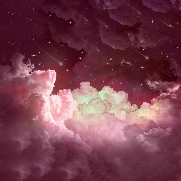 baskılı fon perde pembe ve tonları etkili yıldız ve bulut desenli