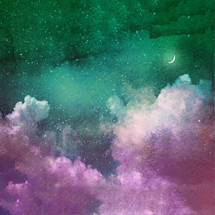 baskılı fon perde pembe ve yeşil renk bulut ve ay desenli