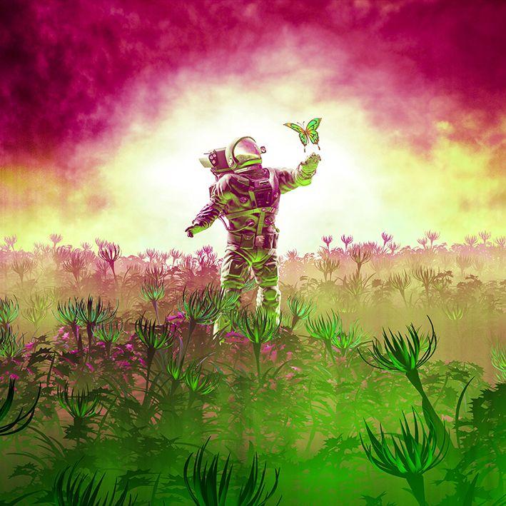 baskılı fon perde pembe ve yeşil renk etkili astronot desenli