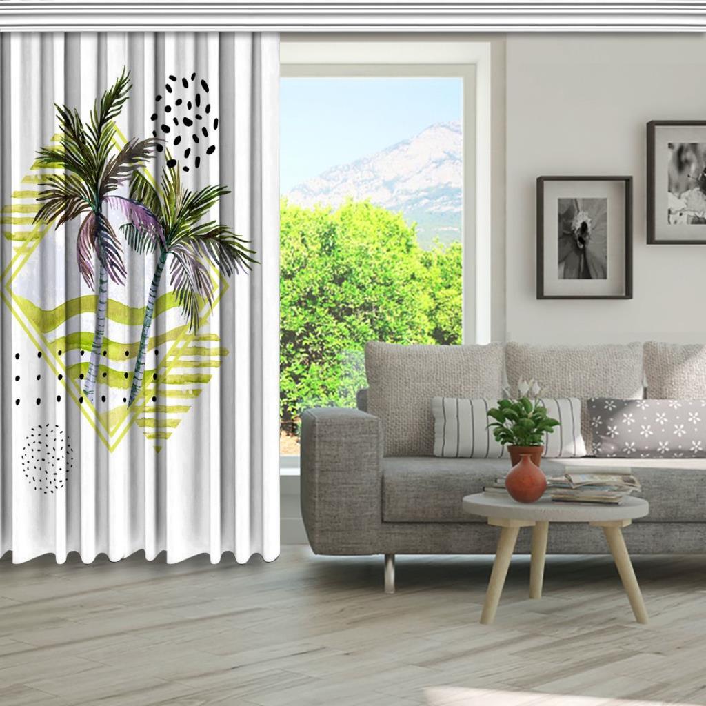 baskılı fon perde pembe, yeşil ve siyah etkili palmiye ağacı desenli