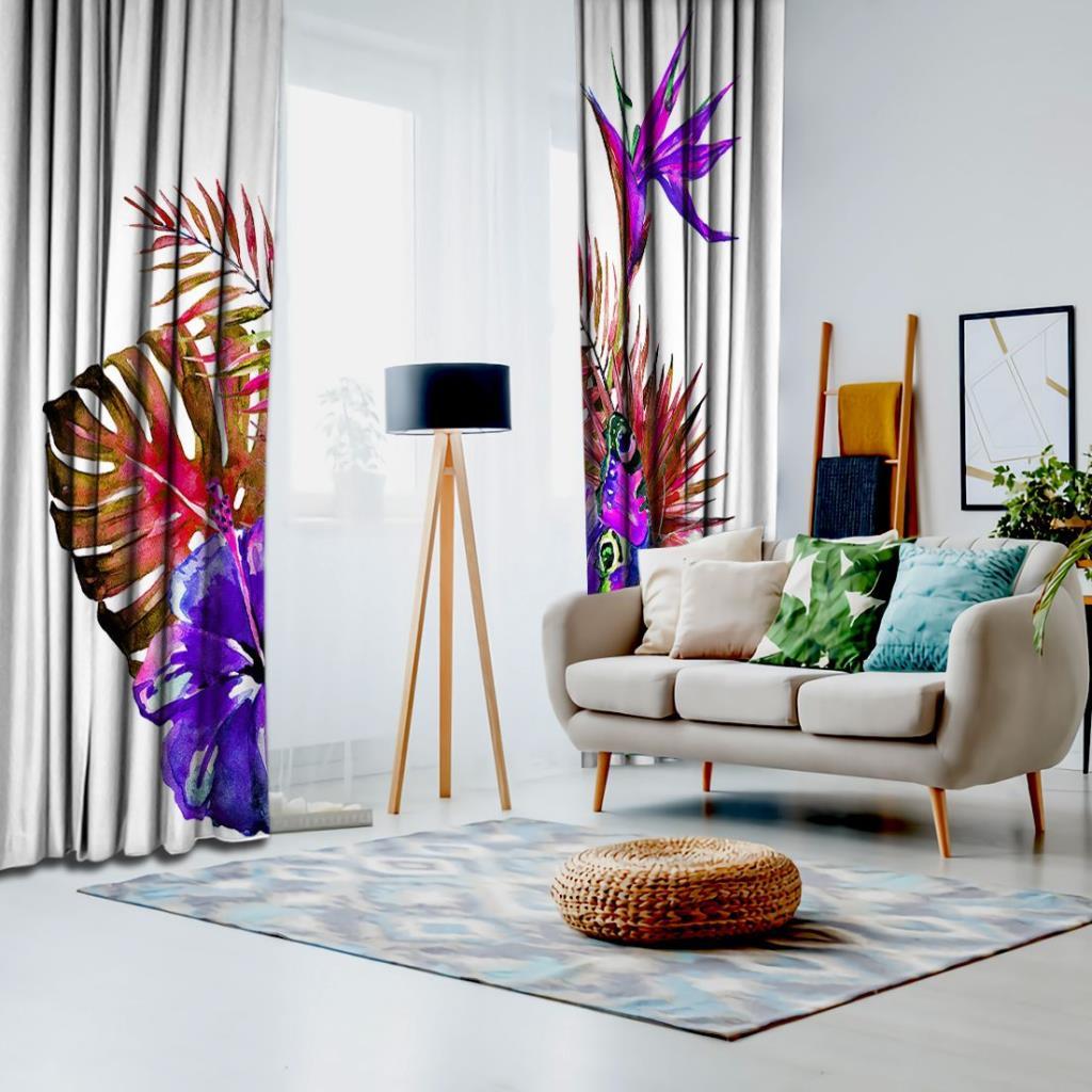 baskılı fon perde pembeli morlu palmiye yapraklar desenli