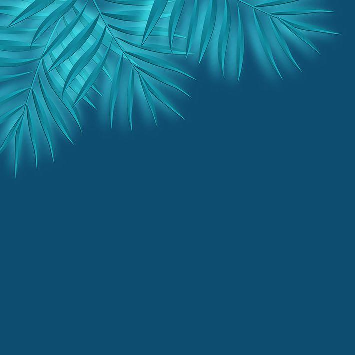 baskılı fon perde petrol mavi renk zemin yeşil tropik yaprak desenli