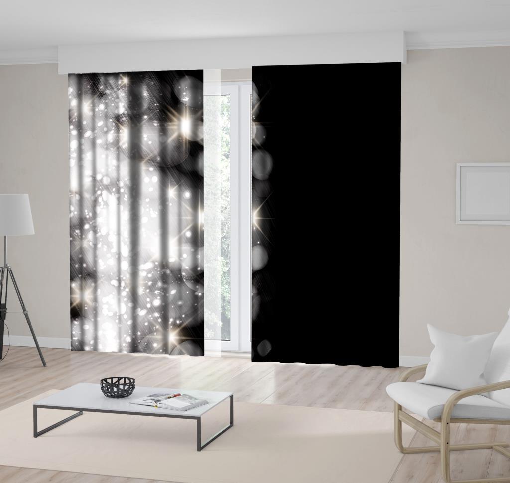 baskılı fon perde pırıltılı ışıklar siyah arka plan desenli