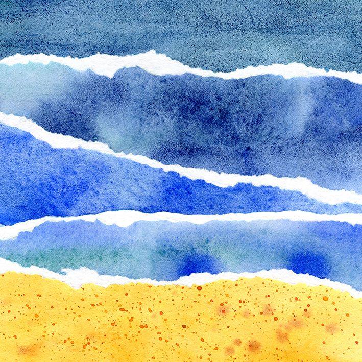 baskılı fon perde plaj etkili mavi ve sarı suluboya desenli