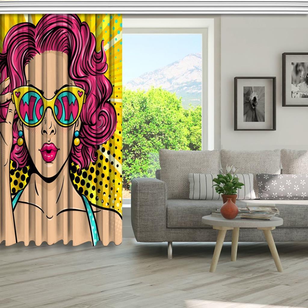 baskılı fon perde pop art yüzü güneş gözlüğü kadın desenli