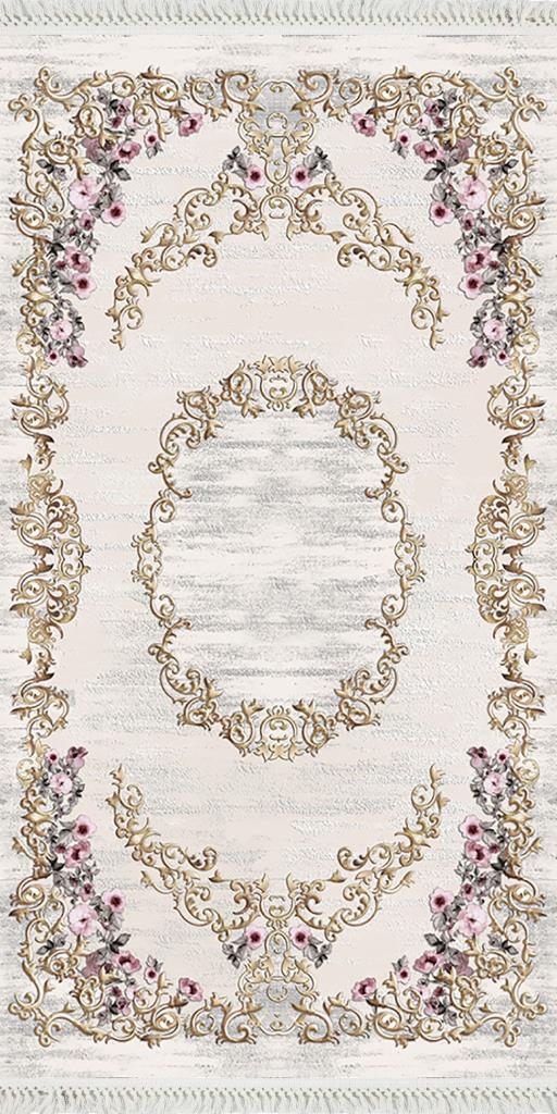baskılı kilim classic çiçek barok desen ekru renk