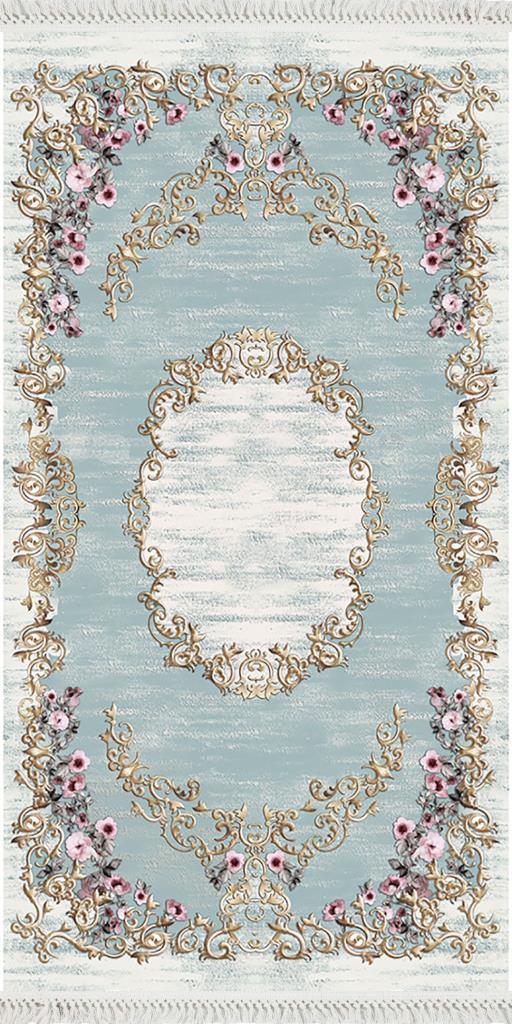 baskılı kilim classic çiçek barok desen mavi renk