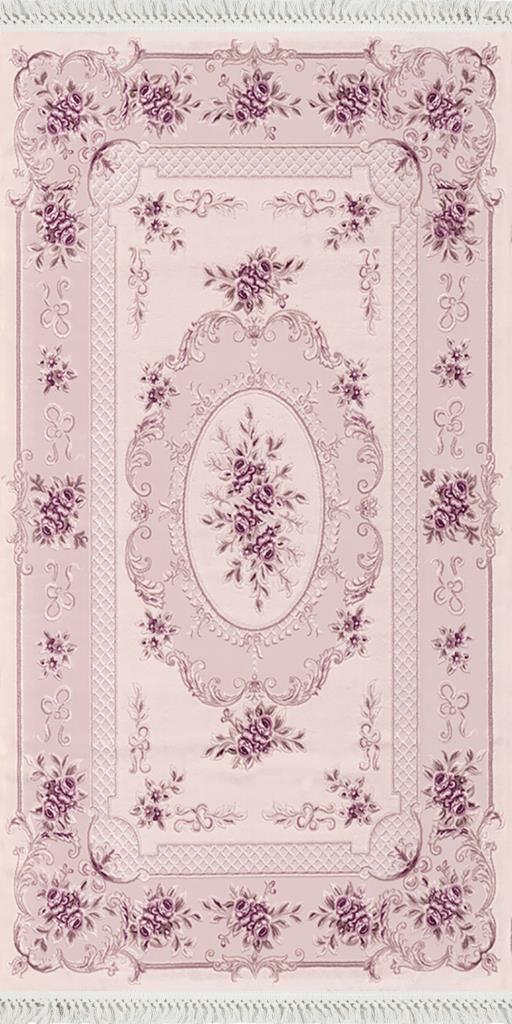 baskılı kilim classic çiçek barok desen pembe renk