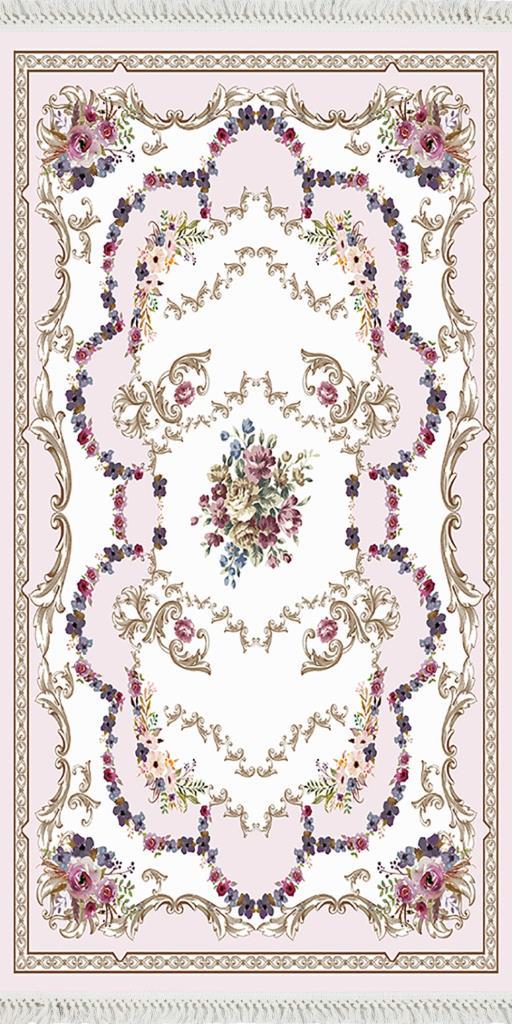 baskılı kilim classic çiçek barok desen pudra ekru renk