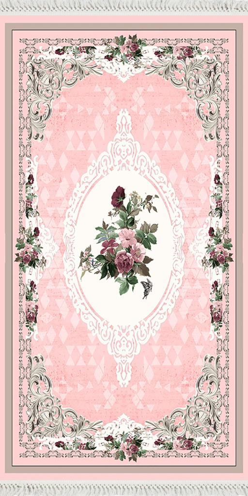 baskılı kilim classic çiçek barok üçgen desen pembe renk