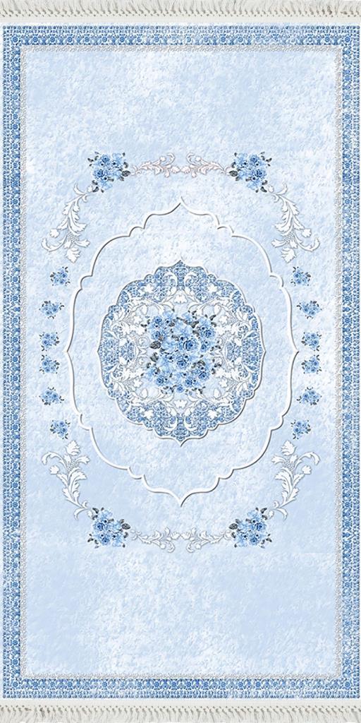 baskılı kilim classic damask çerçeveli çiçekli desen mavi
