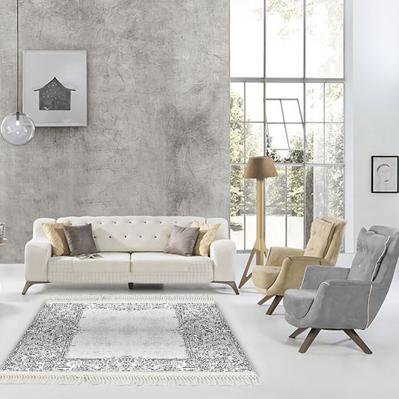 baskılı kilim classic damask çerçeveli desen gri renk