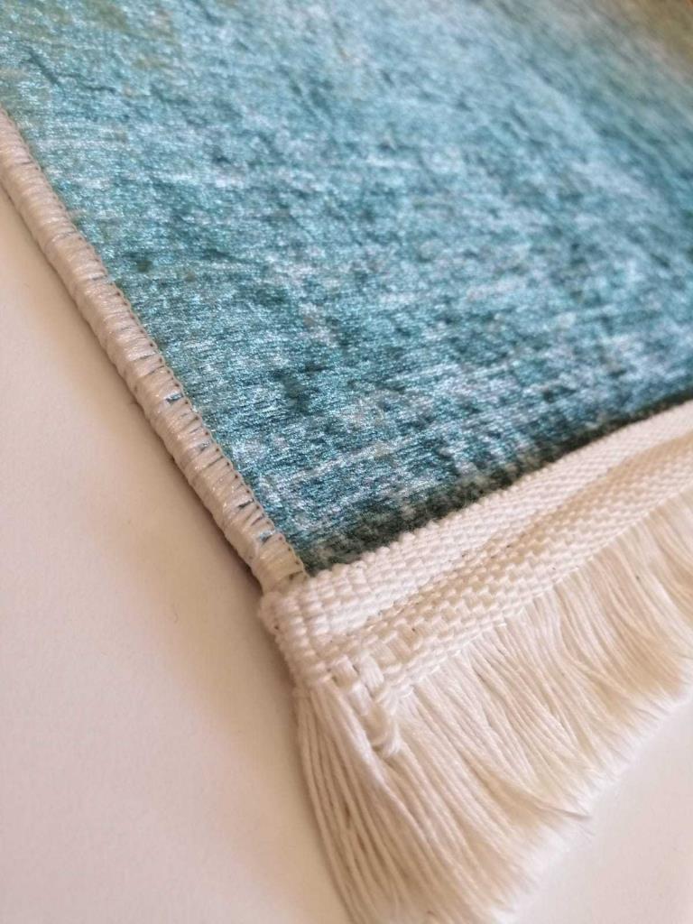 baskılı kilim classic damask çerçeveli desen mavi renk