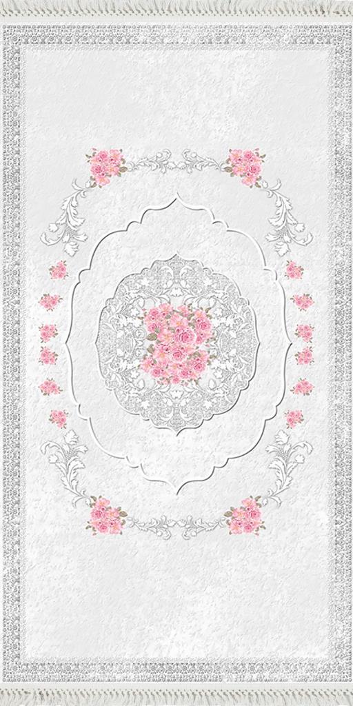 baskılı kilim classic damask çiçek çerçeveli desen gri