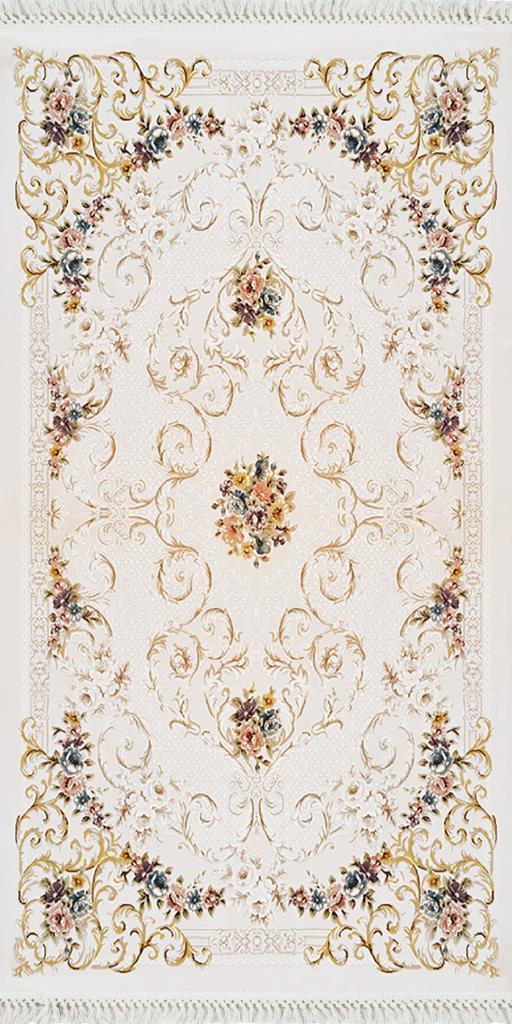 baskılı kilim classic damask çiçekli barok desen bej