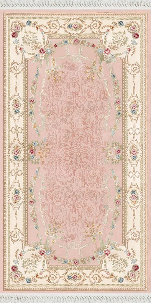 baskılı kilim classic damask çiçekli barok desen pudra