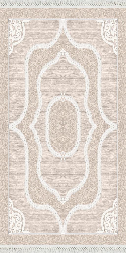 baskılı kilim classic damask desen bej renk