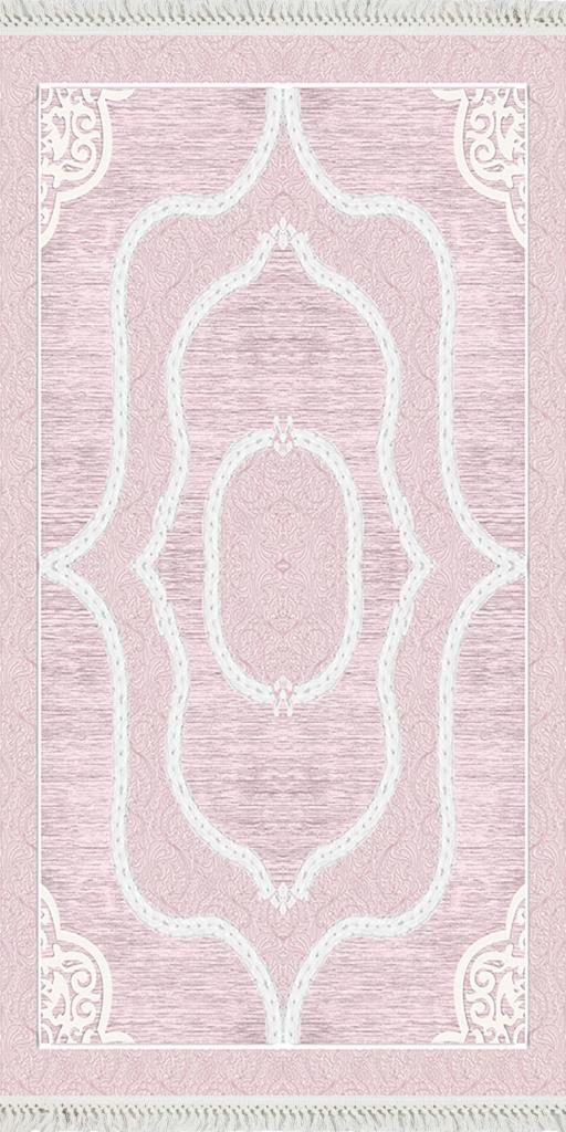 baskılı kilim classic damask desen pudra pembe renk