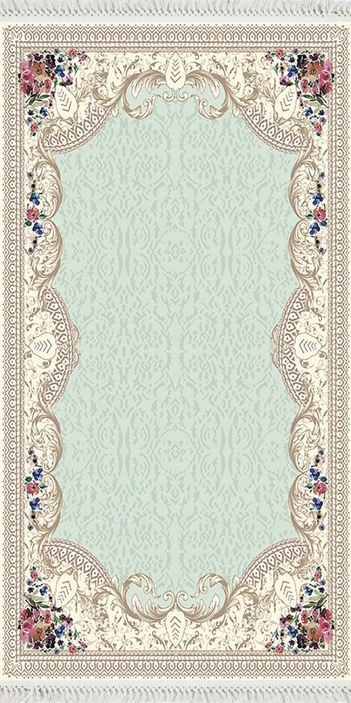 baskılı kilim classic damask eskitme desen a.yeşil renk