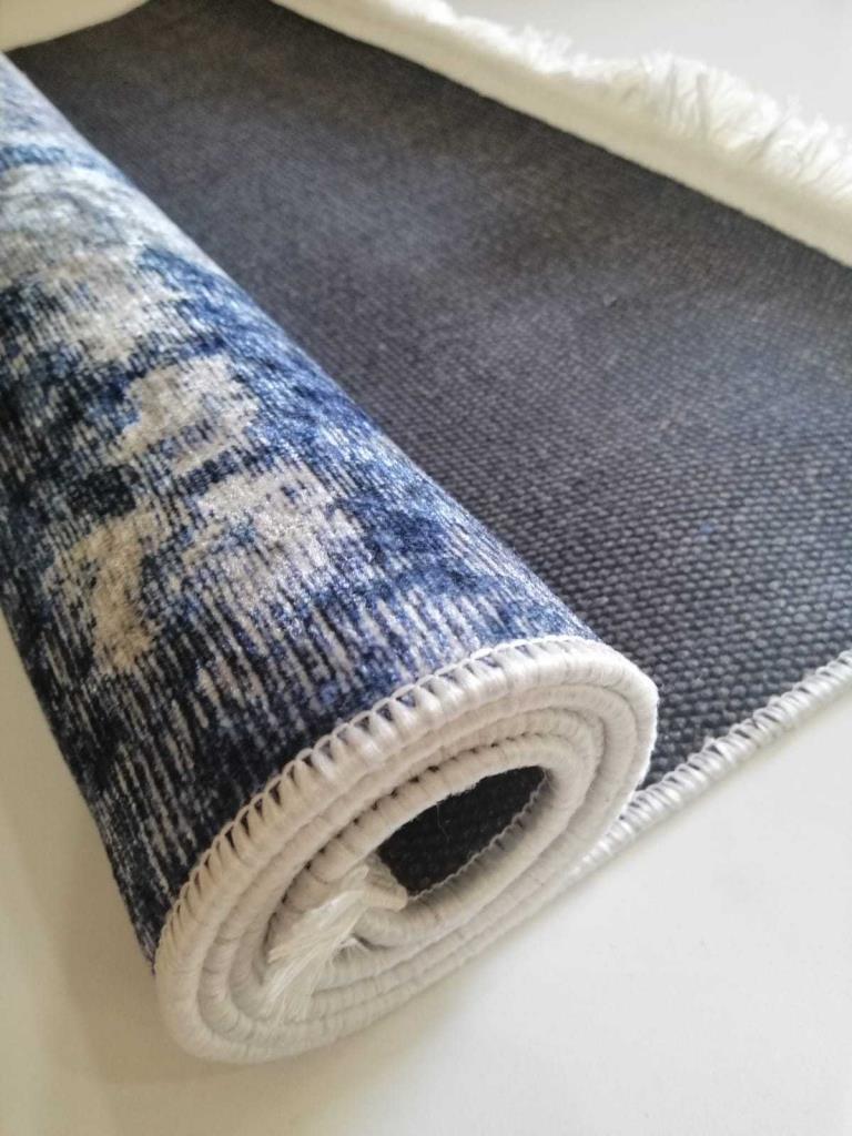 baskılı kilim classic damask eskitme desen mavi renk