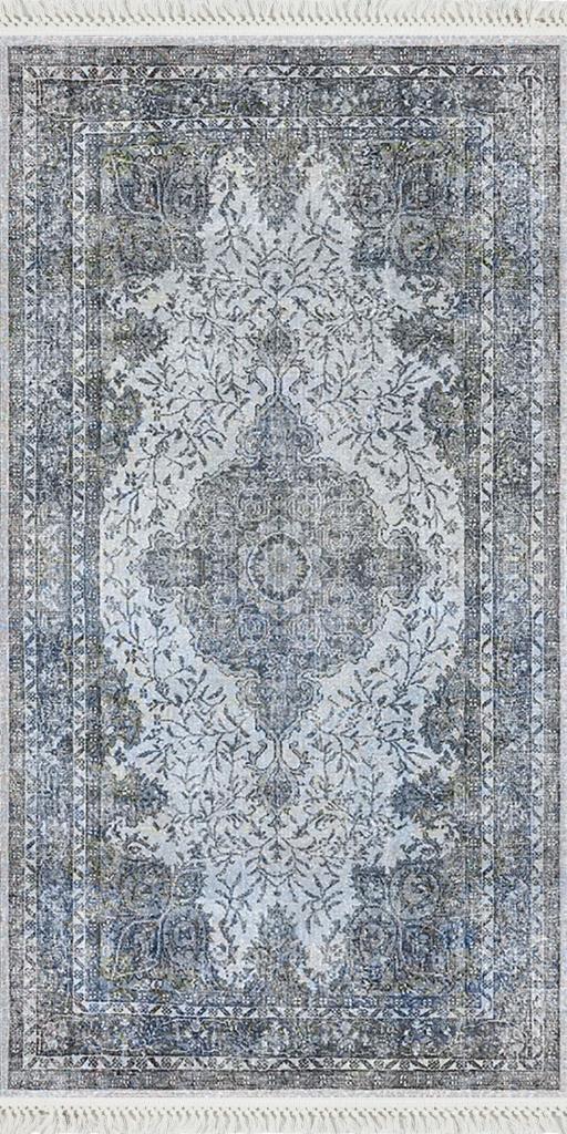 baskılı kilim classic damask geleneksel desen mavi renk