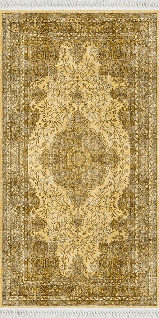 baskılı kilim classic damask geleneksel desen sarı renk