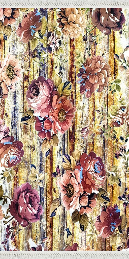 baskılı kilim classic eskitme ahşap desen bordo çiçekli