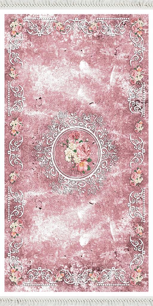 baskılı kilim classic eskitme çiçek desen pembe renk
