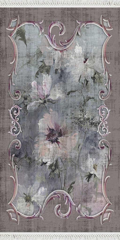 baskılı kilim classic eskitme çiçekli ve kare barok desen