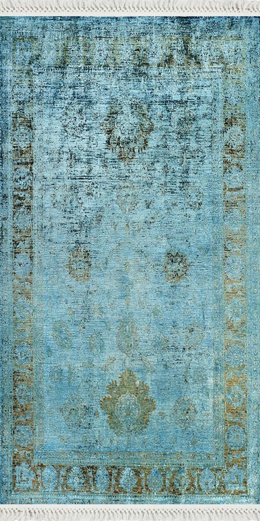 baskılı kilim classic eskitme efektli antik desen mavi