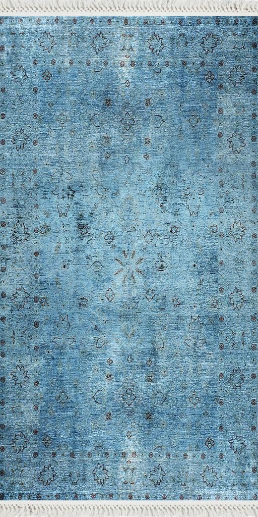 baskılı kilim classic eskitme efektli yapraklı desen mavi