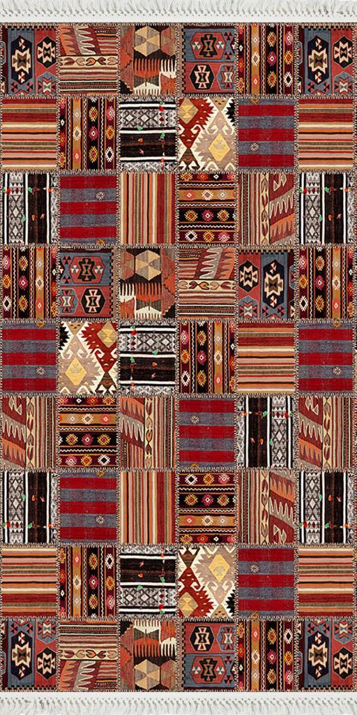 baskılı kilim classic etnik  desen bordo camel renk