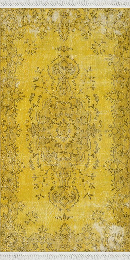 baskılı kilim classic geleneksel desen sarı renk