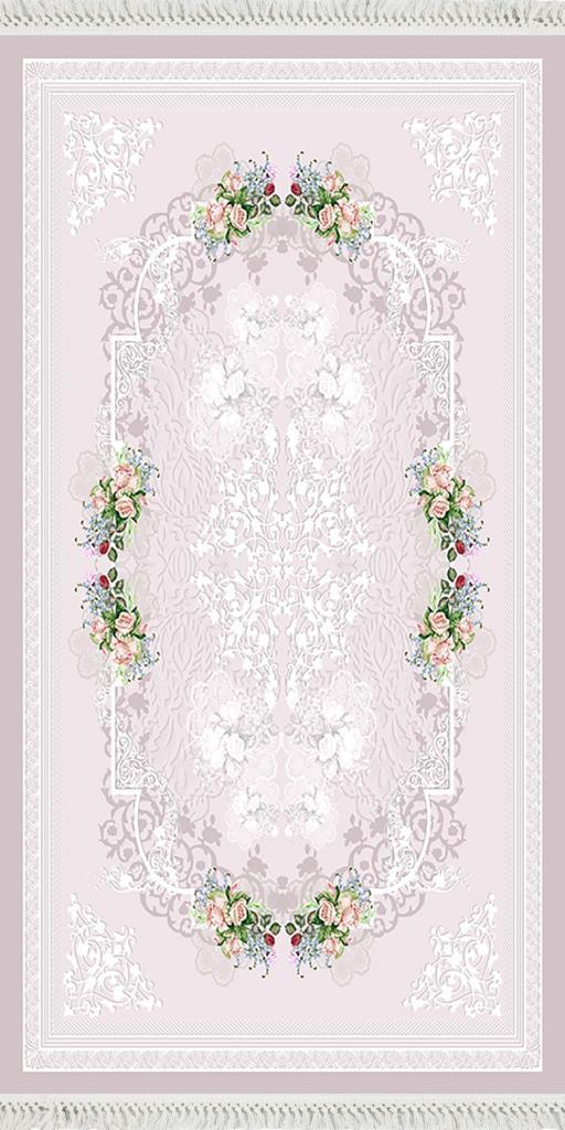 baskılı kilim classic gül damask desen lila renk