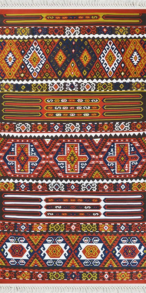 baskılı kilim classic  aztec desen karışık renkli