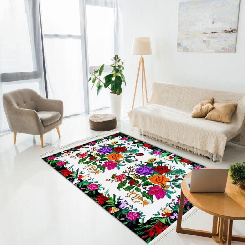 baskılı kilim classic nakış işleme çiçekli desen renkli