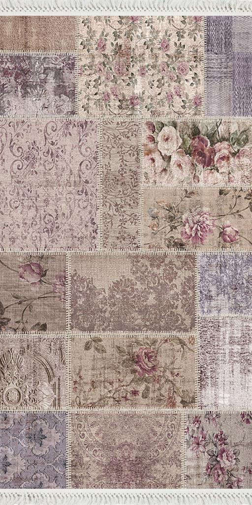 baskılı kilim classic patchwork eskitme çiçekli desen