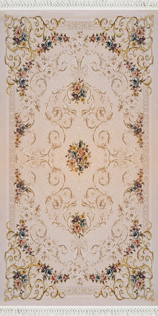 baskılı kilim classic sarmal çiçek barok desen bej renk
