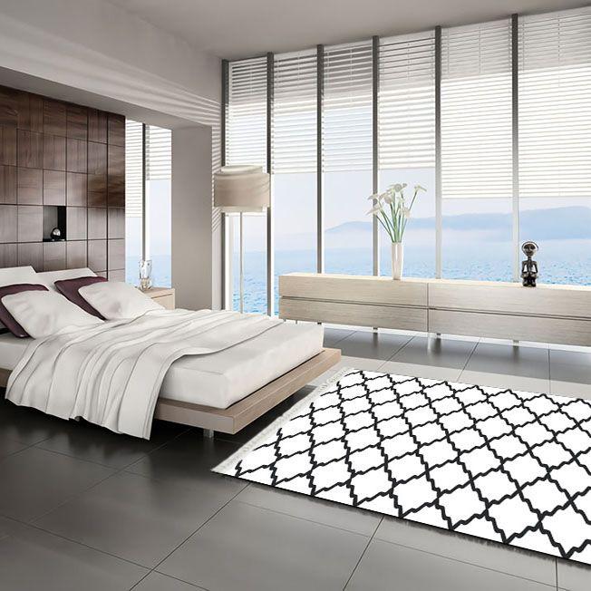 baskılı kilim classic kafes desen beyaz zeminli