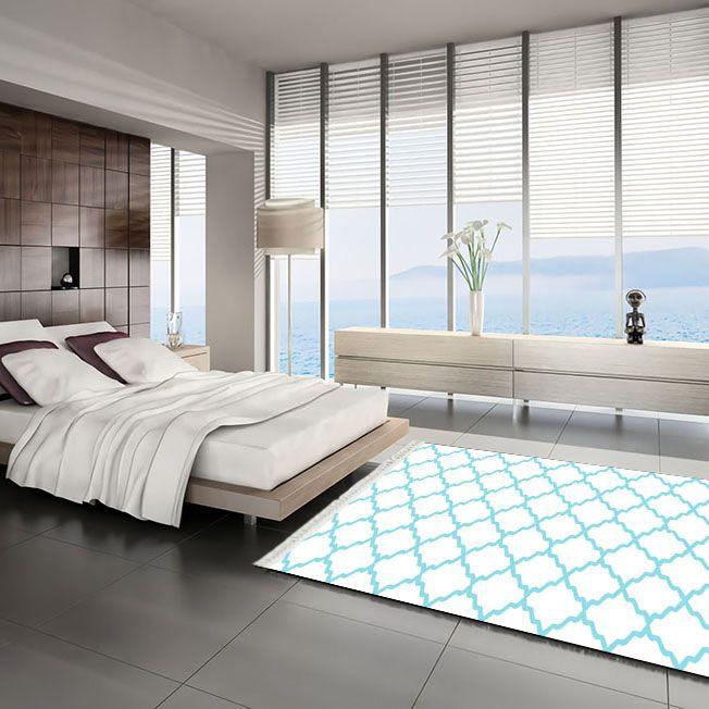 baskılı kilim classic kafes desen beyaz zeminli mavi