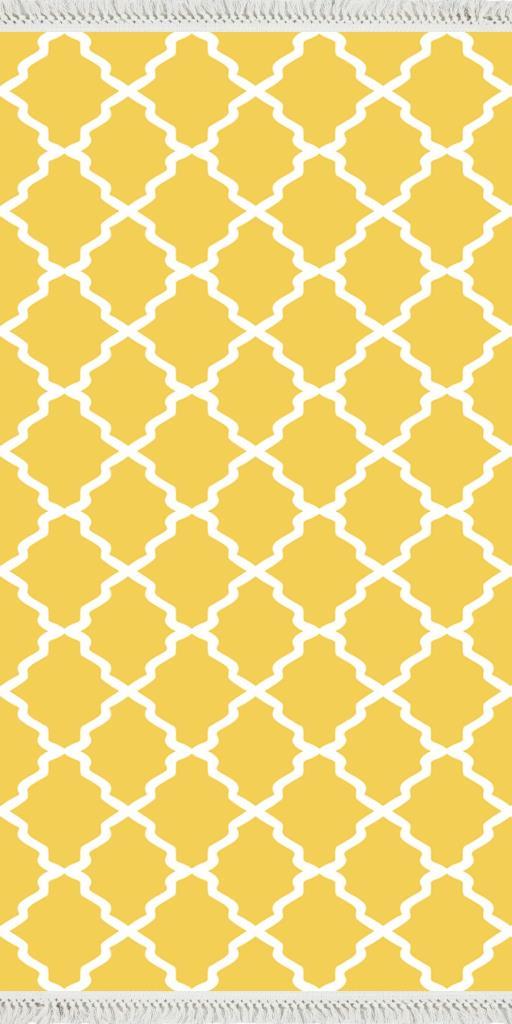 baskılı kilim classic kafes desen sarı zeminli