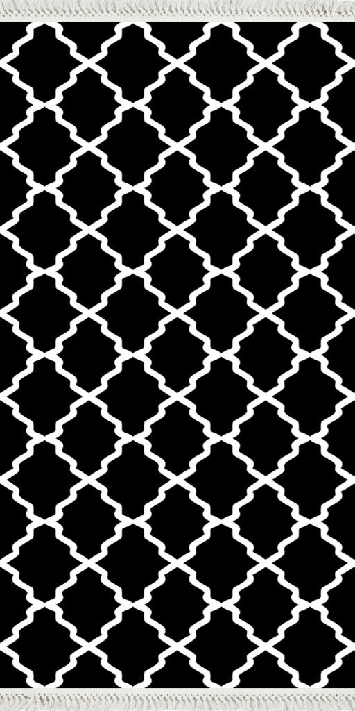 baskılı kilim classic kafes desen siyah zeminli