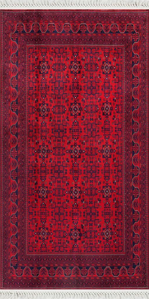 baskılı kilim classic motif desen kırmızı lacivert
