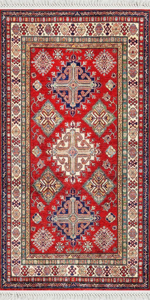 baskılı kilim classic motif desen kırmızı mavi bej
