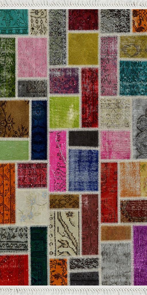 baskılı kilim dikdörtgen patchwork eskitme canlı renk