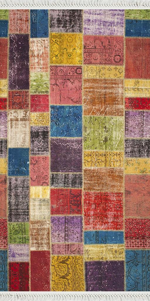 baskılı kilim dikdörtgen patchwork eskitme çok renkli