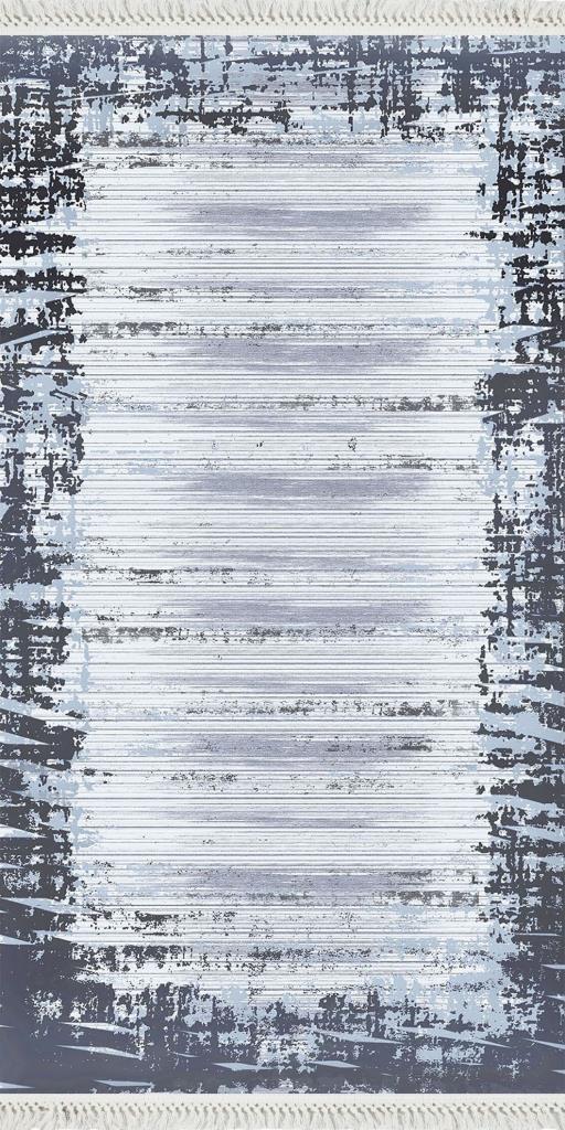 baskılı kilim eskitme efektli gri mavi laci
