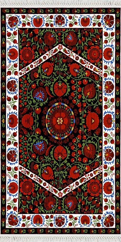 baskılı kilim geleneksel bordo çiçekli  desen