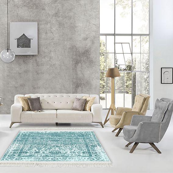 baskılı kilim klasik eskitme damask desen turkuaz renk